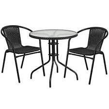 Wicker Patio Furniture Table and Chairs Round Outdoor Bistro Dining Black 3 PC