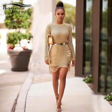 Gold Metallic Knit Shredded Sweater Dress Popular Stretch Sexy Ladder Cut-Out Me