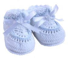 Petit Ami Booties White and Blue Crocheted Baby Boy NWT 0/3m & 3/6m Infant Gift