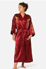 Burgundy Silk Embroidery Dragon Kimono Bathrobe Gown Women Sexy Satin Robe Long