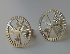 925 Sterling Silver Stud Maltese Cross Earrings with pin Diamond cut