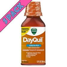 Vicks DayQuil Cold & Flu Multi-Sympton Relief Liquid, Non-Drowsy, 12 oz, 5 Pack
