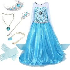 Frozen Snow Party Dress Queen Costume Princess Cosplay Dress Up with accessories