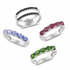 Multi Gemstone Platinum Over Sterling Silver Interchangeable Band Ring (Size 7.0