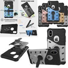 360° Rotating Stand Hybrid Armor Rugged Shockproof PC Case Cover For iPhone X
