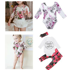 Newborn Infant Baby Girls Outfit Long Romper+Floral Pants+Headband 3Pcs Outfit