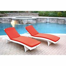 2 Piece Red Cushion Resin Wicker Chaise Lounge Set Home Outdoors Furniture