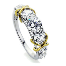 Sterling Silver  Wedding Ring Round CZ Love Knot Seven Stone Anniversary Ring