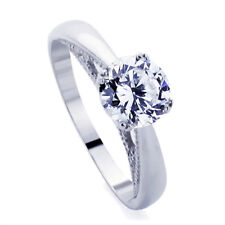 Sterling Silver Wedding Ring Round CZ Classic Solitaire  Engagement Ring