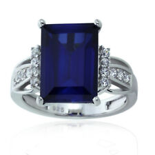 Sterling Silver Engagement Ring CZ Rectangular Blue CZ Ring