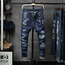 Men Slim Fit Stretchy Ripped Straight Biker Denim Jeans Destroyed Taped Pants