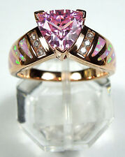 Rose Gold Plated Pink Topaz & Fire Opal Inlay 925 Sterling silver Ring size 6