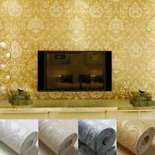 10M 3D Luxury Damask Embossed Texture Non-woven Fabric Roll Wallpaper Background