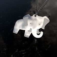 Cute elephant sterling silver pendant necklace and chain