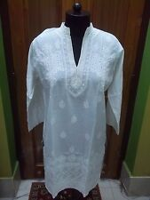 "L 42 43"" ETHNIC KURTA KURTI TOP COTTON HANDMADE CHIKAN SEQUINS EMBROIDERY TUNIC"