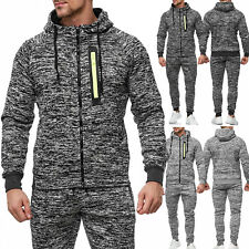 Men's Sports Tracksuit Mottled Training Black Tracksuit Gym Grey WOW