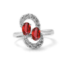 925 Sterling Silver Ring with Red Garnet Natural Gemstones Oval Cut eBay