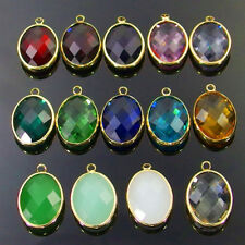 10Pcs gold plated framed faceted Czech crystal glass charm beads oval pendants