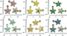 16pcs Czech Patina Antique Silver Tone Flower Charms Floral Bohemian Metal Two-S