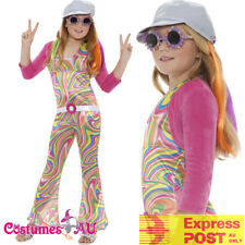 Girls Hippy Costume Child 60s 70s Groovy Glam Fancy Dress Disco Hippie Outfit