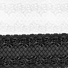 5 Yards 24cm Stretch Soft Floral Lace Trim Decoration Crafts Sewing Dress Making