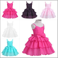 Baby Girls Bowknot Tiered Flower Cake Dress Princess Pageant Birthday Party 0-4Y