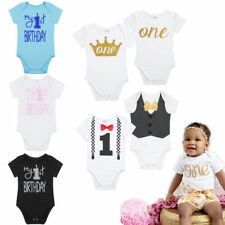 Infant Baby Boys Short Sleeves 1st Birthday Party Romper Bodysuit Outfit Clothes