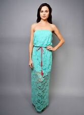 Gorgeous Mint Green Rose Print Lace Maxi Dress NWT M, L, XL Medium Large Easter