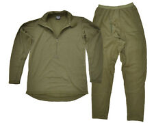 New ECWCS Thermal Underwear Olive Green - All Sizes Top and Bottom Fleece Zipped