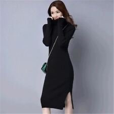 Women Slim Turtleneck Sweater Package Hip Long Sleeve Knitted Dress