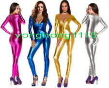 Sexy Shiny Metallic Spandex V-neck Body Suit Catsuit Costumes Sexy Bodysuit Y089