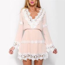 Women New Style Floral Lace Pattern Long Sleeve Deep V Neck Dress