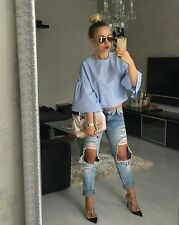 Zara Sky Blue Frilled Sleeve Top Blouse BNWT Bloggers favorite Sold out