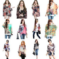 Bohemian Ladies Chiffon Shirt Top Floral Blouse Tunic Tops Casual Teal One Size