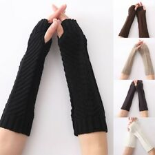 Women Autumn / Winter Solid Color Arm Warmer Knit Long Fingerless Gloves
