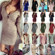 Women Sexy Bodycon Sweatshirt Knitted Jumper Dress Long Sweater Tops Mini Dress