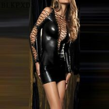 Sexy Gothic Fetish Clubwear Deep-v Faux Leather PVC Catsuit Mini Dress One Size