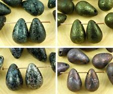 4pcs Rough Rustic Etched Extra Large Teardrop Czech Glass Beads 12mm x 18mm