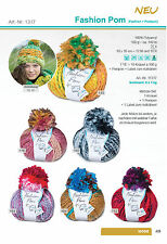 Rellana Fashion Pom all colours - 100 g Yarn+Pompon+Label, Wool, Cap, Scarf