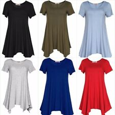 Womens Short Sleeeves Scoop neck Comfy Loose Fit Swing Tunic Top S - 3XL Plus