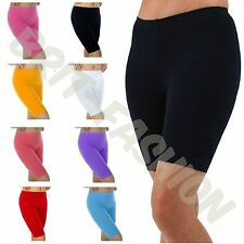 Womens Ladies COTTON KNEE LENGTH Active Dance Cycling Gym Leggings SHORTS