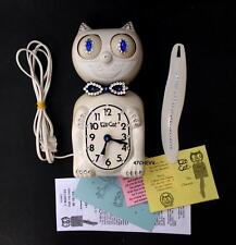 VINTAGE USA 80s-ELECTRIC-WHITE-KIT CAT KLOCK-KAT CLOCK-ORIGINAL MOTOR REBUILT
