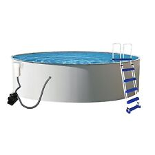 52-Inch Deep Swimming Pool Above Ground 24-Feet Round Metal Wall Outdoor Fun Set