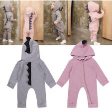 Cute Dinosaur Baby Boys Girls Kid Hooded Romper Jumpsuit Bodysuit Outfit Clothes
