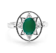 925 Sterling Silver Ring with Green Onyx Natural Gemstone Oval Cut handcrafted
