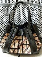 Burberry House Black Patent Leather Nova Check Warrior Satchel Shoulder Bag Ours