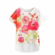 Women Multi Colors Floral Print Pattern Chiffon Fabric Short Sleeve Blouse G742