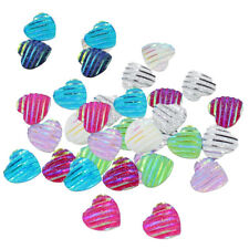 50Pcs 12mm Love Heart Shape Stripe Resin Cabochon Flat back Setting Bracelet