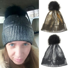 Braided Crochet Wool Knit Beanie Beret Ski Ball Cap Baggy Womens Winter Warm Hat