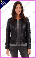 Womens Genuine Lambskin Quilted Real Leather Jacket Slim fit Biker Jacket #74